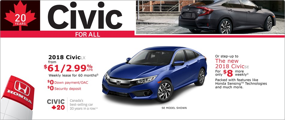 2018 Civic LX from $61 Weekly