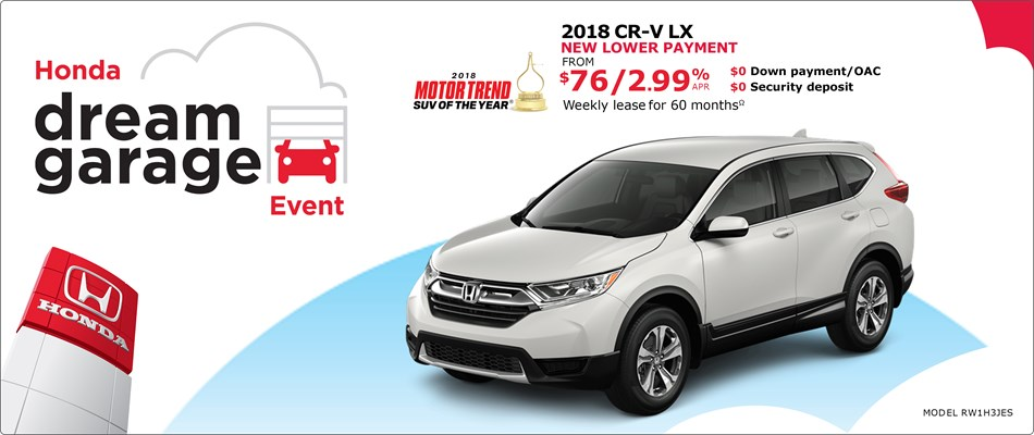 2018 CR-V from $76 Weekly