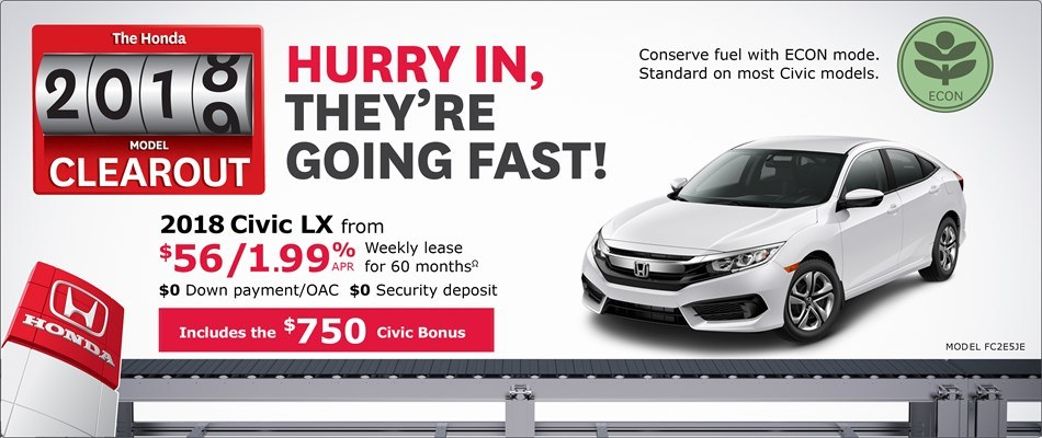 2018 Civic LX from $56 Weekly