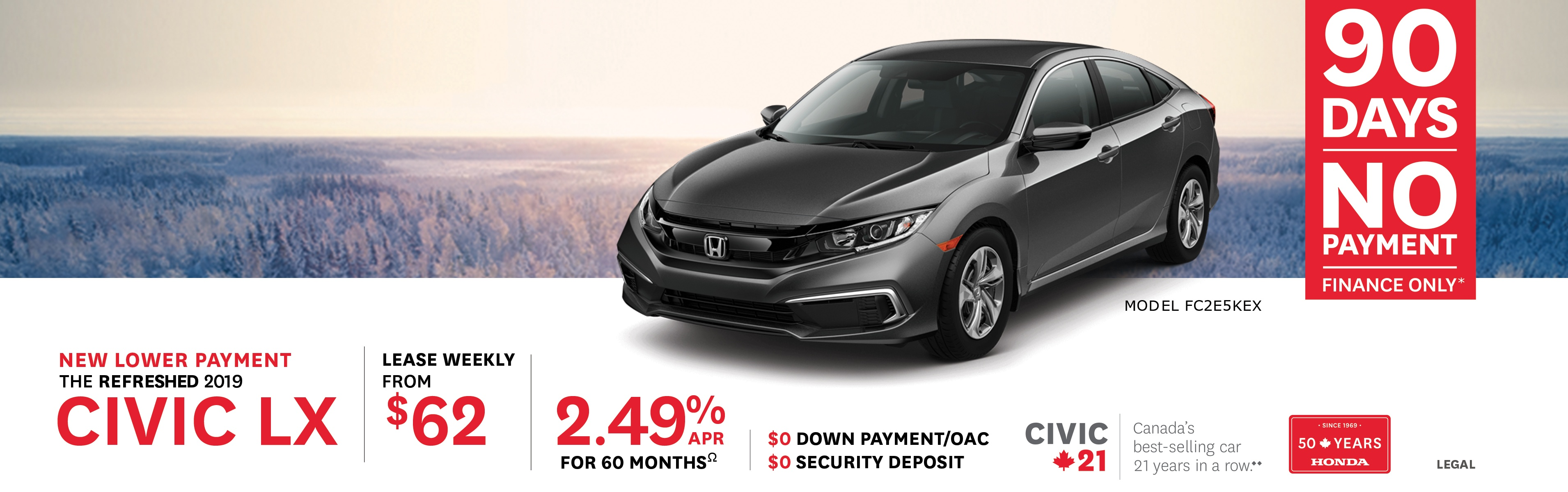2019 Civic LX from $62 Weekly
