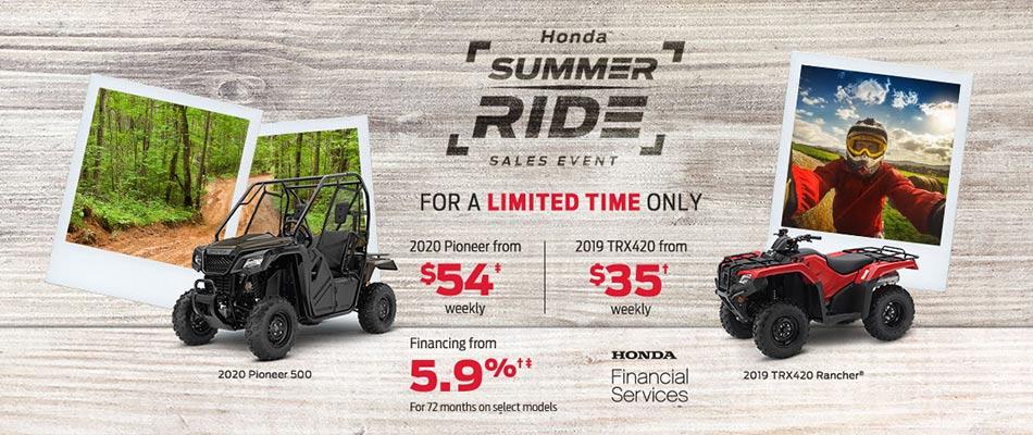 Summer Ride Sales Event at Kanata Honda