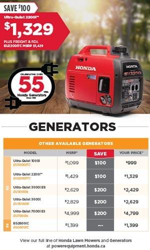 Save on Honda Generators Now at Kanata Honda
